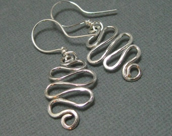Sterling silver Curly Q hammered drop earring, Hammered artisan free form dangle earrings hand forged