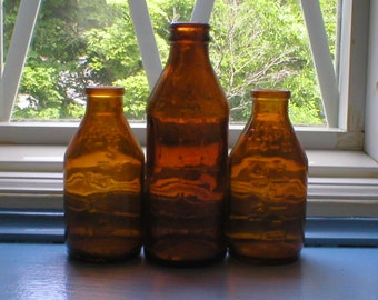 Clapps Bottle 2- 4OZ 1- 6OZ Brown Amber Glass Baby Medicine Bottles Clapps Vintage 1950s