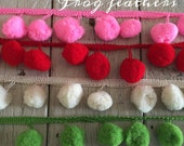EXTRA LARGE RED Pom Pom Trim- -1 1/2 yards-1 inch Ball-free shipping with the purchase of another item