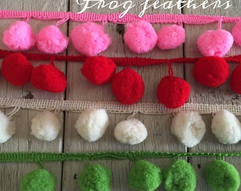 EXTRA LARGE Pom Pom Trim- -2 yards-1 inch Ball