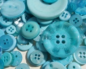 Teal Buttons - Sewing Button Teal Aqua - 120 Assorted Buttons - Biscay Bay