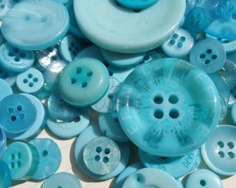 Teal Buttons - Sewing Button Teal Aqua - 100 Assorted Buttons - Biscay Bay