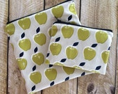 Sandwich Bag Snack Bag Set - Kids - Apples - Lunch Bag - Back to School - Kids Snack Bag - Litterless Lunch - Reusable - Ecofriendly
