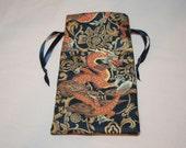 Orange Dragon - Lined Drawstring Tarot Card Deck Pouch
