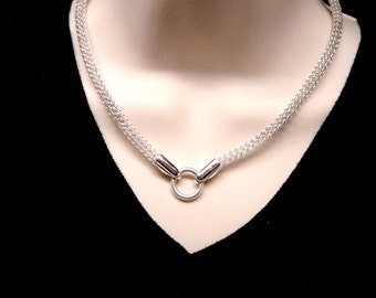 Made To Order Discreet Slave Collar Sterling Trichinopoly Hand Woven Chain Necklace with Sterling Clasp