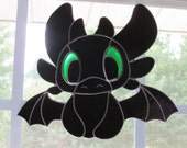 Toothless Stained Glass Suncatcher Fan Based