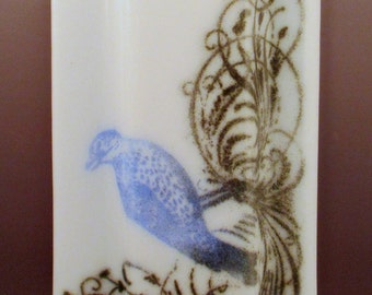 Fused Glass Screen Print Vintage Bird Wall Pocket Vase