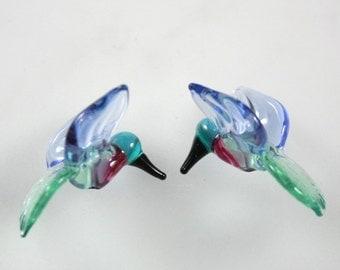 Lampwork Beads Glass Hummingbird Beads Peacock Green and Light Blue Hummingbirds Bird Beads RC Art Glass