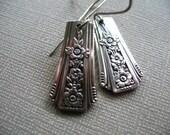 Silver Plate Spoon Handles on Silver Ear Wires, Recycled Spoon Handle Earrings, Repurposed Spoon Handle Earrings, Wedding Jewelry