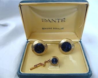 Dante Sodalite Cufflinks and Tie Tack