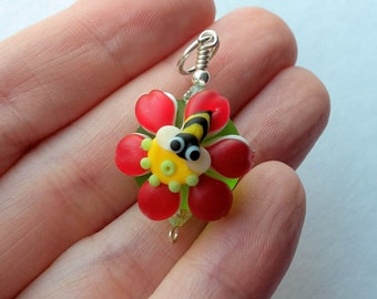 Bright Red Bumblebee Lampwork Glass Bead Focal Pendant by keiara SRA