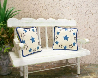 Blue Star Pillows Cushions Americana Patriotic 1:12 Dollhouse Miniatures Artisan