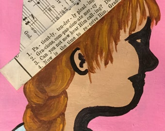 Paper Hat Girl hand painted notecard