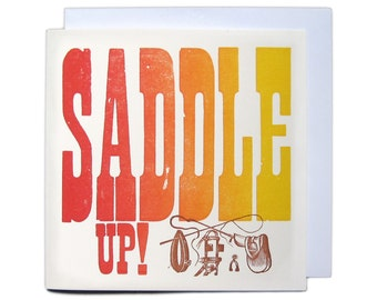 Letterpress Woodblock Greetings Card - Saddle Up