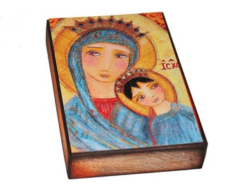 Our Lady of Perpetual Help - Giclee print mounted on Wood (5 x 7 inches) Folk Art  by FLOR LARIOS