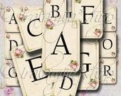 SHABBY ALPHABET CARDS Collage Digital Images -printable download file- Scrapbook paper