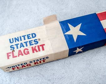 Vintage American Flag kit - large cotton flag with pole - 3 ft by 5 ft