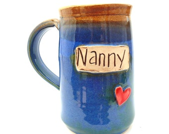 Handmade Pottery Mug Nanny Blue Tall Mug by Jewel Pottery