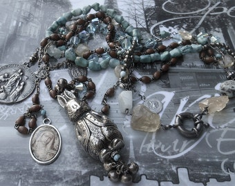 You Decorated my Life Antique Bunny Rattle Vintage Turquoise Rosary Necklace