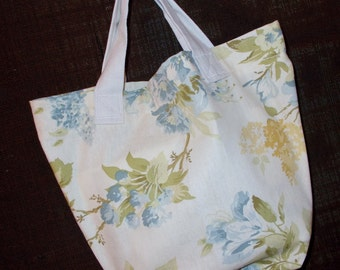Bag/Purse-13 x 9 inch-the Little Sis Bag with soft blue, sage green and pale gold floral print