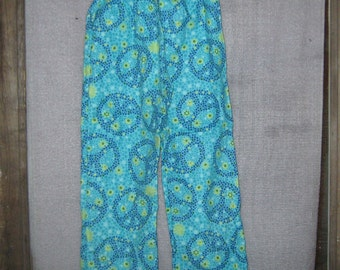 Pajama Pants-- Peace and Polka Dot Flannel in Blue--Size 6