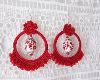 Red crochet flower hoop earrings