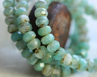 MOONSTONE BEACH .. 30 Czech Picasso Beads, Rondelle Glass Beads 3x5mm (B33-st)