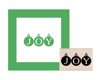 JOY Christmas Ornaments Rubber Stamp