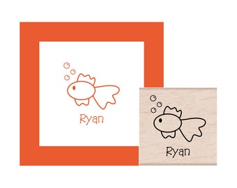 Personalized Goldfish Rubber Stamp