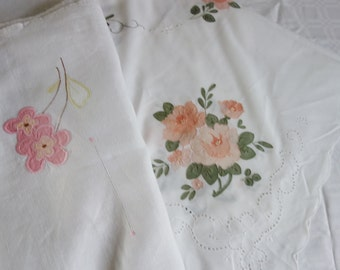 two pretty  vintage applique tablecloths 33x33 inches