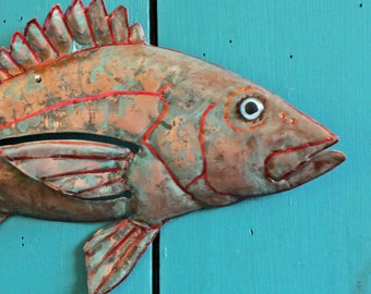 Red Snapper - copper fish sculpture  - with red-range amd blue patina - OOAK