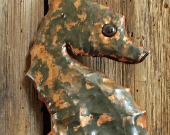 Seahorse - copper metal sea creature sculpture - wall hanging - with verdigris blue-green patina - OOAK
