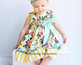 Toddler Girl Clothes, Girls Dresses, Baby Girl Outfit,  Ruffled Sun Dress, Trendy Spring Summer Easter in Wildflower Meadow