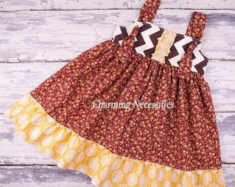 SALE Girls Fall Knot Dress in Marigold by Charming Necessities Toddler Girl Back to School Boutique Clothing Cranberry Mustard Brown