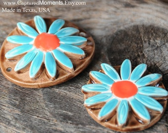 Handmade Pottery PENDANT Detailed Dimensional Flower