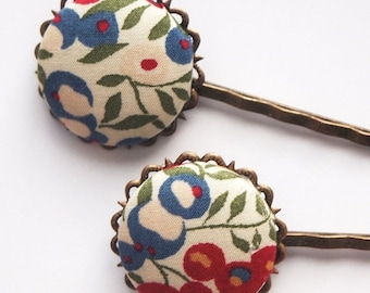 ON SALE Blue Fall Floral Bobby Pins -  Set of Two Librarian Classic