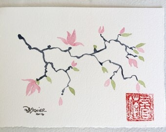 Magnolia an Original Watercolor Painting 5x7 inch