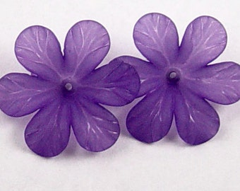 CLEARANCE Acrylic Bead 8 Purple Star Daisy Flower 6-Petal Point Frosted 33mm (1022luc33m3-7)os