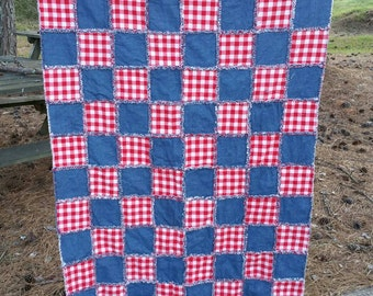 Toddler/Throw Sized Rag Quilt Red, White & Blue *Ready to Ship*