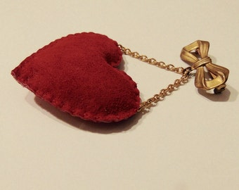 Stuffed Red Leather Heart Dangle Bow Brooch