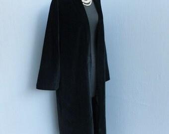 Vintage 1950s/60s Black Velour Swing Coat, Black Full Length Glamorous Swing Coat, Mad Men, Elegant Opera or Dinner Coat