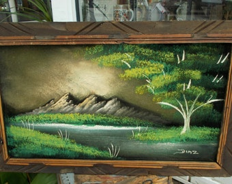 Velvet Painting Signed Diaz Wood Carved Frame Lake Mountains Deep Green / HECHO EN MEXICO / Painting / Southwest Art / Mexico Art