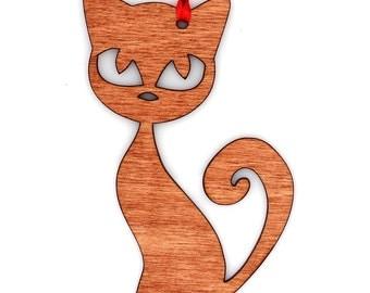 Wooden Cute Cat Ornament