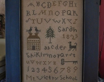 Primitive Cross Stitch Sampler / Mt. Victry School Schoolgirl Sampler