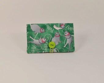 Fabric Business Card Holder - Wedding Cats B