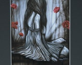 Sad Woman Red Poppies Art Print Black Matted To 16 x 20 Black Gray If You  Love Something