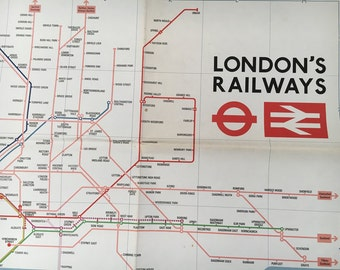 Vintage London Railway's Map-Oversize map, Vintage London, London Railways, London