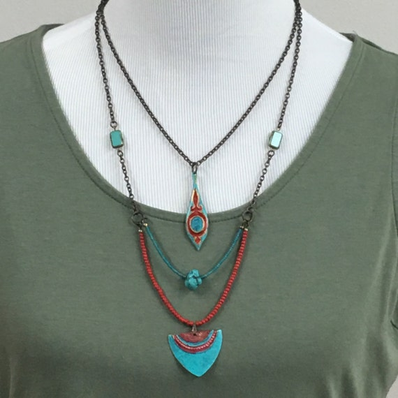 2-strand Necklace painted red and turquoise (I351)