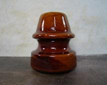 Vintage Brown Ceramic Insulator
