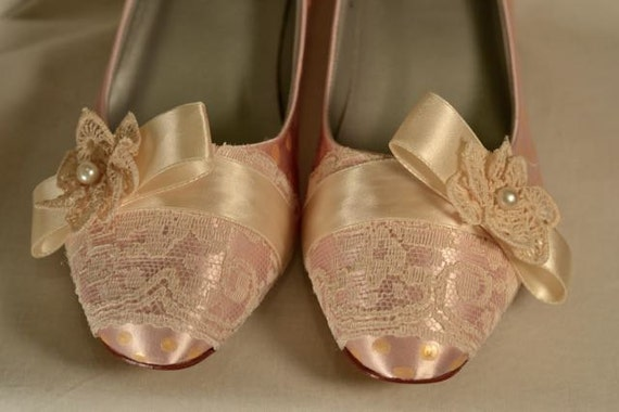 Special Size 8.5 W - Marie Antoinette Blush and Ivory Pumps